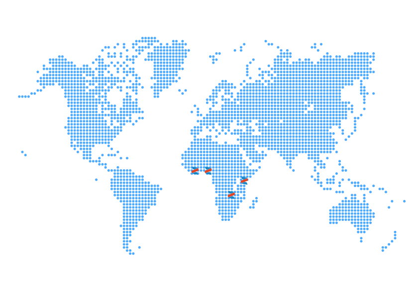 World Map with zegetech locations